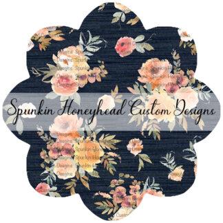 Limited Release - Slubbed Florals - Floral on Slubbed Navy